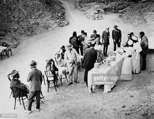 Opening of the inner chamber of Tutankhamun's tomb Egypt 18th February 1923 Distinguished visitors taking refreshments near the tomb in the Valley of...