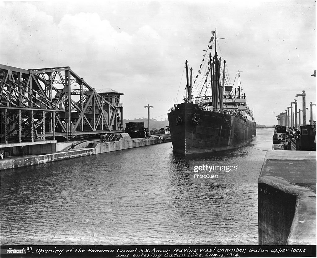 Opening of the Panama Canal showing American Steamship SS Ancon leaving the west chamber of the upper Gatun locks and entering Gatun Lake Panama...