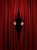 opening red stage curtain