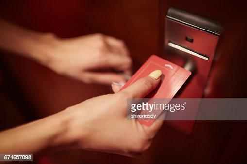 Opening the door : Stock Photo