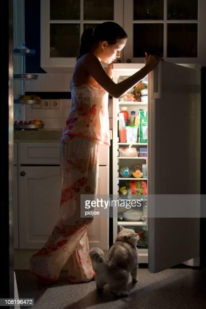 opening the fridge at night