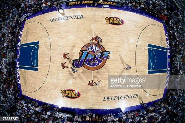 Opening tip off between the Chicago Bulls and the Utah Jazz during Game One of the 1997 NBA Finals at the Delta Center in Salt Lake City Utah NOTE TO...