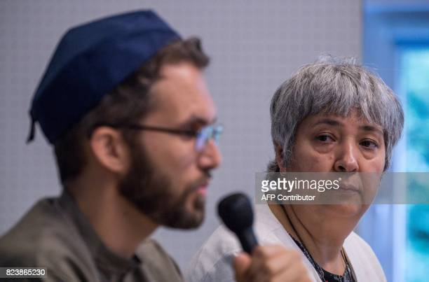Openly gay French imam LudovicMohamed Zahed and GermanTurkish lawyer author and activist Seyran Ates address a press conference prior to Friday...