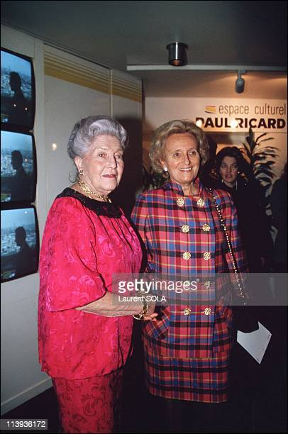Openning of photo exhibition of the count of Orleans In Paris France On November 18 1993Isabelle of Orleans countess of Paris and Bernadette Chirac