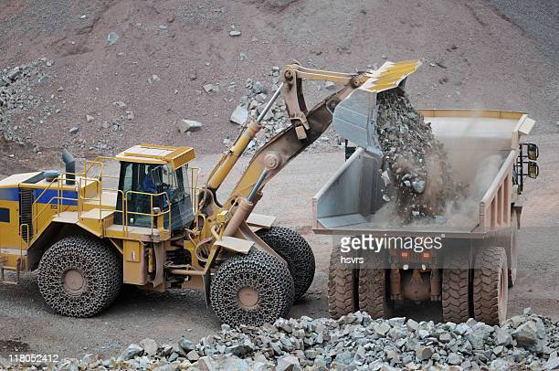 Open-pit Mine with Earth Mover and Dump Truck