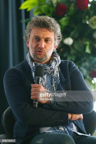 Opera Australia Artistic Director Lyndon Terracini interviews Jonas Kaufmann at The Opera Centre on August 4 2017 in Sydney Australia