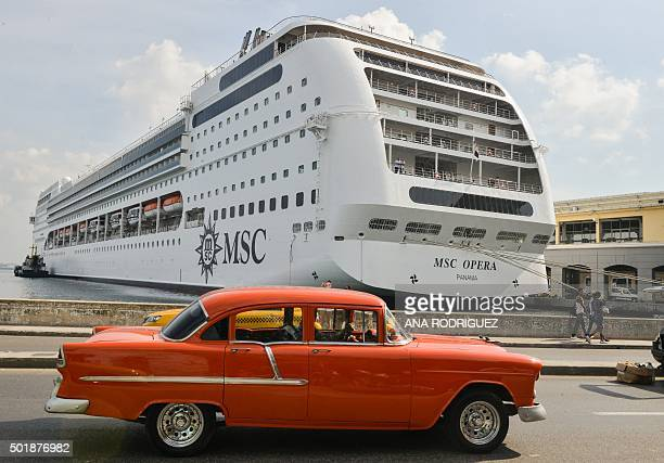 MSC Opera cruise is seen after her arrival to Havana harbor on December 18 2015 MSC Opera Cruiser is the largest which has made stopover in Cuba with...