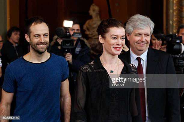 Opera de Paris director Stephane Lissner arrives with outgoing director of the Paris Opera Ballet Benjamin Millepied and his successor Aurelie Dupont...