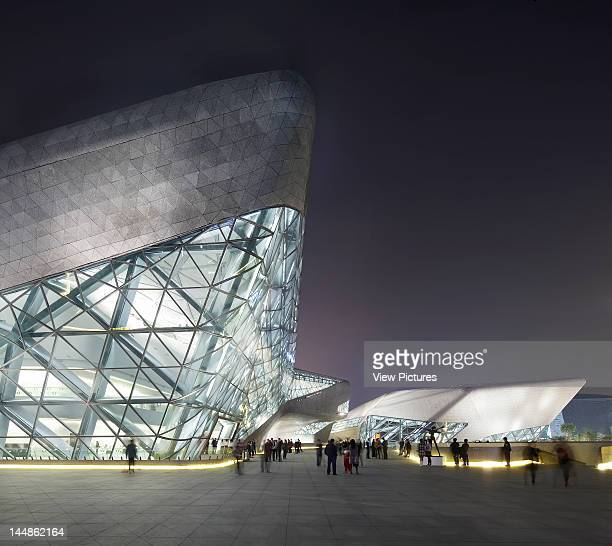 Zaha Hadid Guangzhou Opera House Zaha Hadid Architects Guangzhou China 2011 Twilight Exterior View Of Upper Entrance