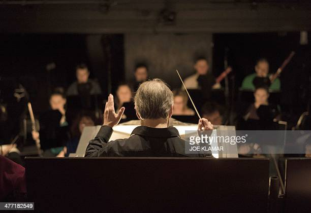 LA Opera music director and conductor James Conlon rehearses 'Lucia Di Lammermoor' with the orchestra during the press preview at Los Angeles Music...