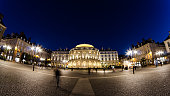 View of the Opera de Rennes at night.