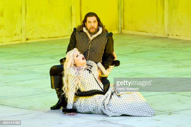 Opera singer Anna Netrebko and Placido Domingo perform on stage during photo rehearsal for 'Il Trovatore' at Staatsoper at Schillertheater on...