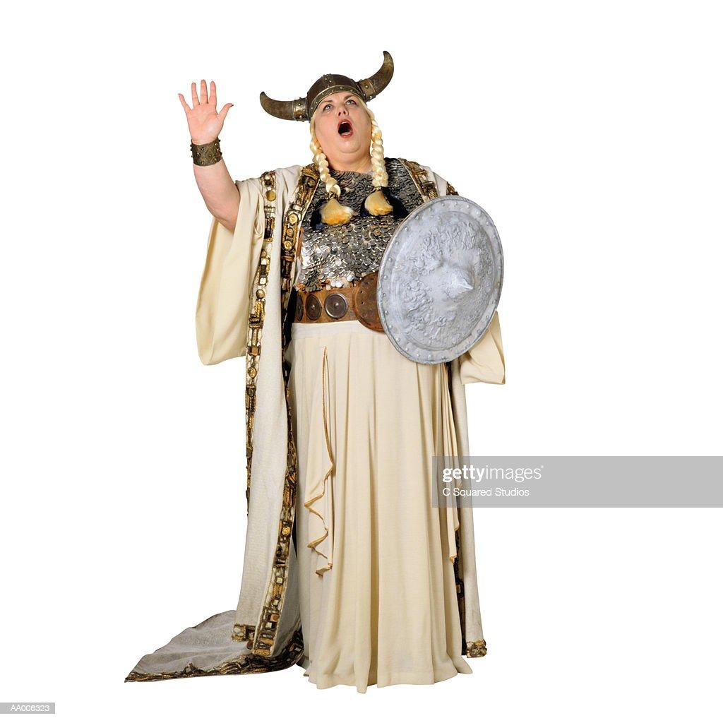Opera Singer in a Viking Helmet