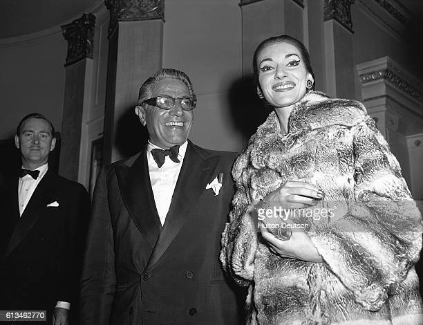 Opera singer Maria Callas with the Greek shipping tycoon Aristotle Onassis The couple had a long relationship with each other prior to his marriage...