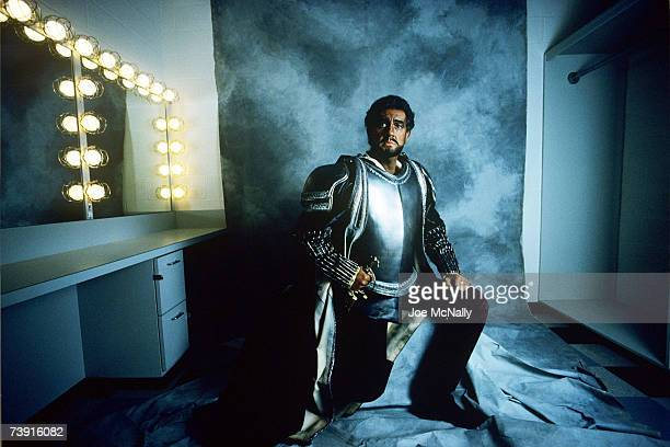 Opera singer Placido Domingo poses in his dressing room at the Houston Grand Opera House on May 1989 in Houston Texas Domingo a Spanish operatic...