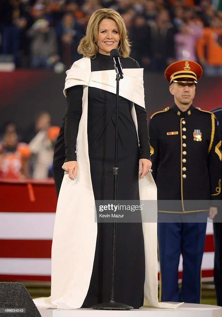 Opera singer <a gi-track='captionPersonalityLinkClicked' href=/galleries/search?phrase=Renee+Fleming&family=editorial&specificpeople=213243 ng-click='$event.stopPropagation()'>Renee Fleming</a> performs the National Anthem during the Pepsi Super Bowl XLVIII Pregame Show at MetLife Stadium on February 2, 2014 in East Rutherford, New Jersey.