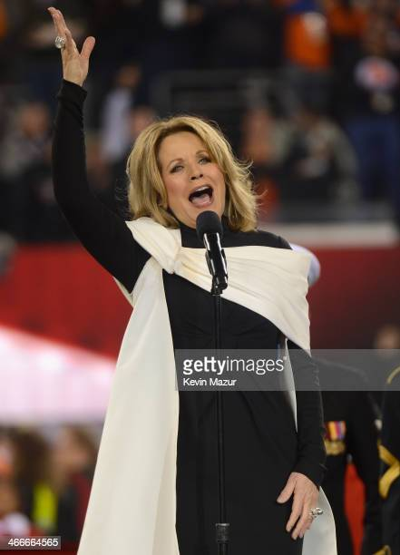 Opera singer Renee Fleming performs the National Anthem during the Pepsi Super Bowl XLVIII Pregame Show at MetLife Stadium on February 2 2014 in East...