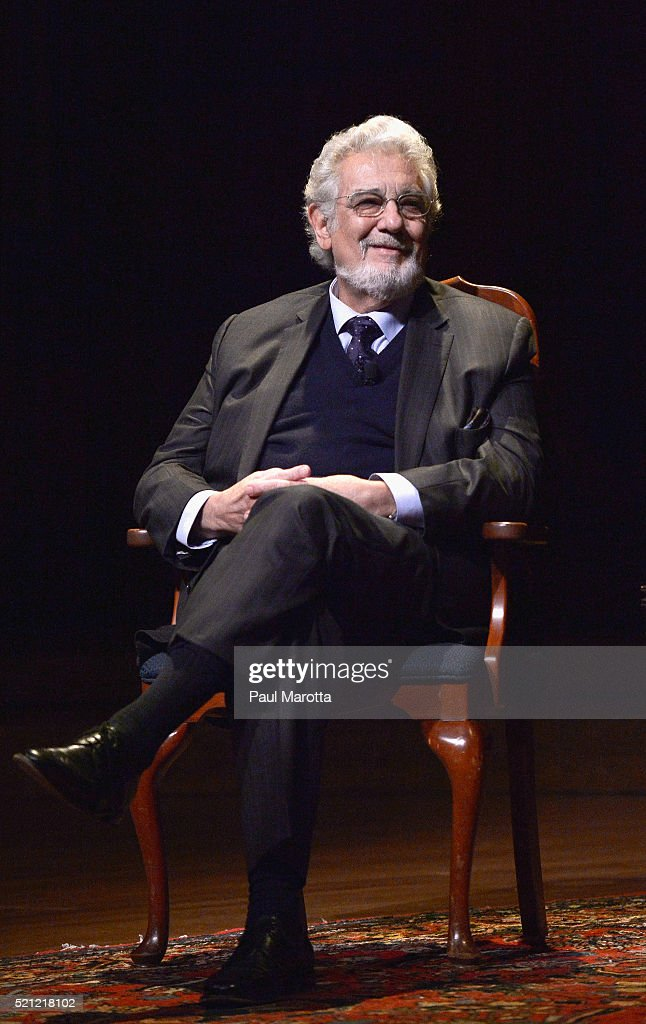 Opera singerand conductor Placido Domingo speaks at Harvard University's 'Giving Voice: A Conversation with Placido Domingo' and is interviewed by faculty members Tamar Herzog and Anne C. Shreffler at Harvard University's Sanders Theatre on April 14, 2016 in Cambridge, Massachusetts.