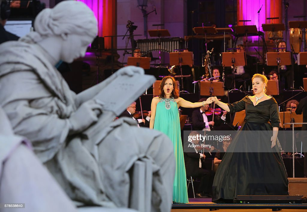 Opera singers Anna Goryachova and Katarzyna Dondalska perform at the opening night of the Classic Open Air festival at Gendarmenmarkt on July 21 2016...