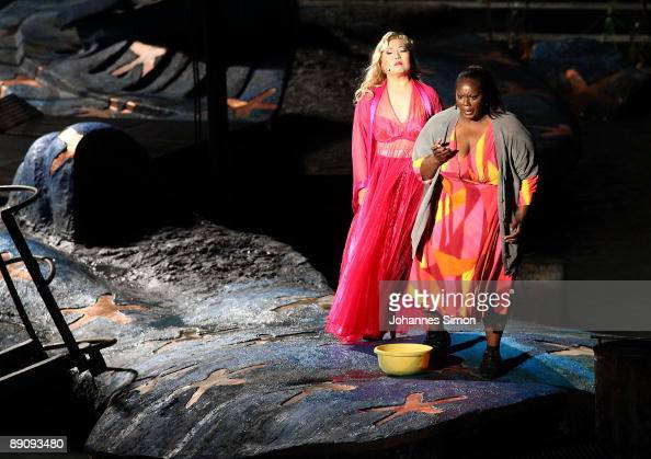 US opera singers Guang Yang and Indra Thomas perform on stage during the rehearsal of Giuseppe Verdi's opera 'Aida' on the Bregenz festival floating...