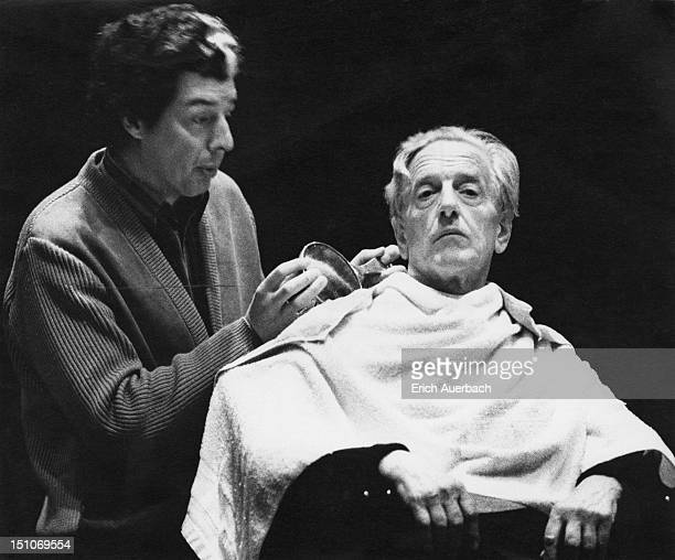 Opera singers John ShirleyQuirk as the hotel barber and Peter Pears as Gustav con Aschenbach in Benjamin Britten's opera 'Death in Venice' at Snape...