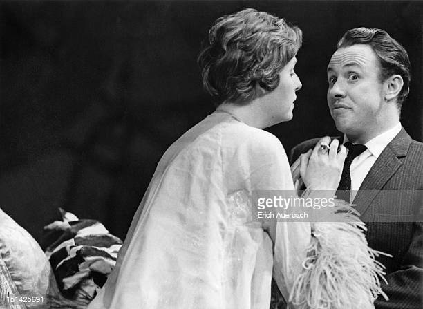 Opera singers Yvonne Minton and Raymond Myers in a rehearsal of Nicholas Maw's opera 'One Man Show' at the Cochrane Theatre London 6th November 1964