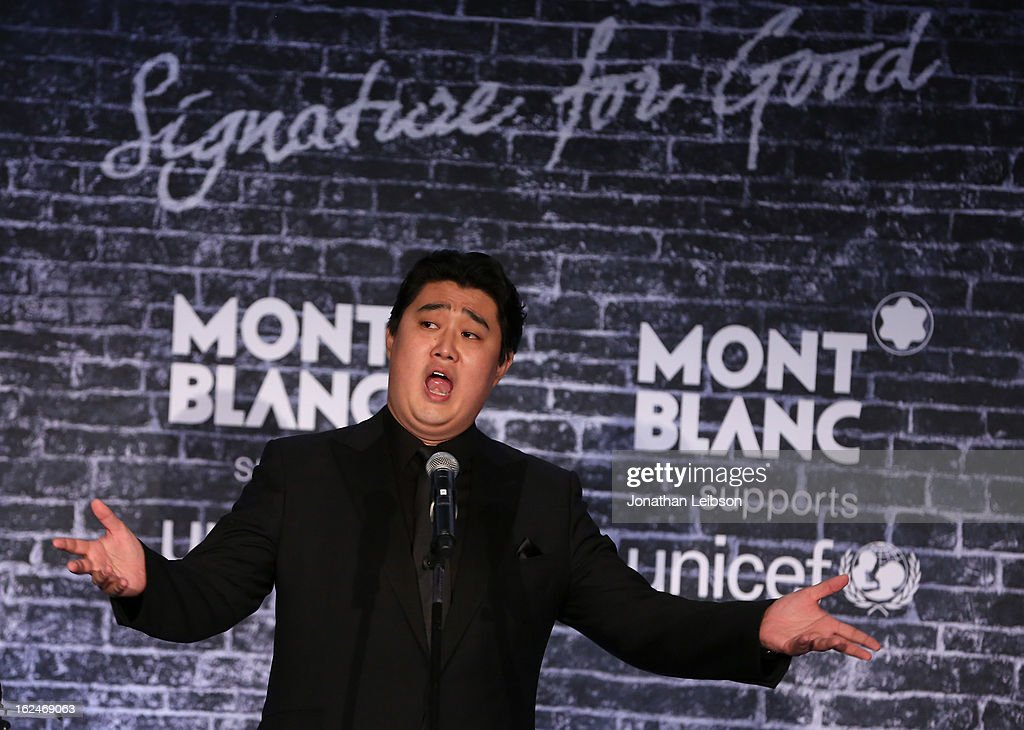 Opera Star and Montblanc Brand Ambassador Shenyang performs at the Pre-Oscar charity brunch hosted by Montblanc and UNICEF to celebrate the launch of their new 'Signature For Good 2013' Initiative with special guest Hilary Swank at Hotel Bel-Air on February 23, 2013 in Los Angeles, California.