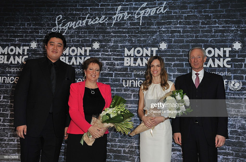 Opera Star and Montblanc Brand Ambassador Shenyang, U.S. Fund for UNICEF President and CEO Caryl M. Stern wearing Montblanc Star 4810 necklace and earrings, Hilary Swank wearing Montblanc Collection Princesse Grace de Monaco in Red Gold and diamonds and CEO of Montblanc International Mr. Lutz Bethge attend a Pre-Oscar charity brunch hosted by Montblanc and UNICEF to celebrate the launch of their new 'Signature For Good 2013' Initiative with special guest Hilary Swank at Hotel Bel-Air on February 23, 2013 in Los Angeles, California.