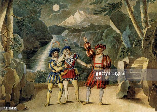 Opera 'William Tell' by Gioacchino Rossini for creation at Paris Opera House august 3 engraving