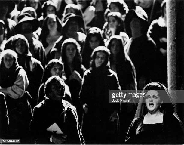 Operatic soprano Montserrat Caballe performing 'I Vespri Siciliani' in 1974