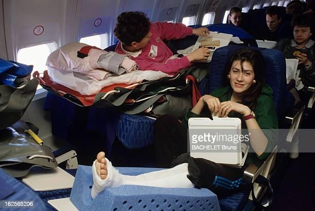 Operation 'Broken Leg' Organized By Inter Mutuelles Assistances Paris 27 février 1989 Lors de l'Opération 'Jambes cassées'organisée par Inter...