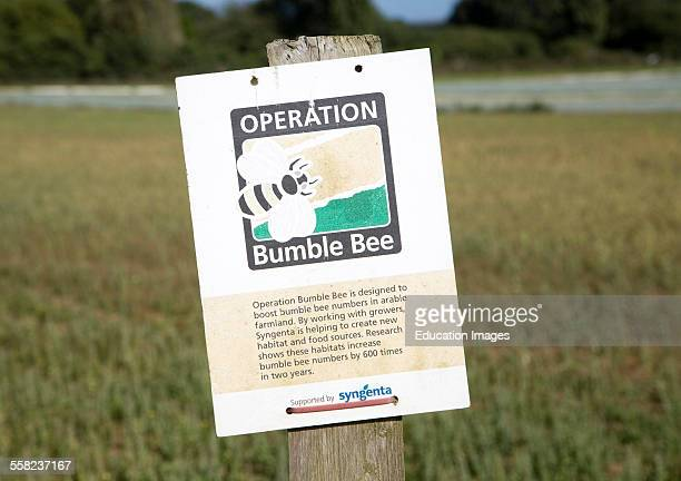 Operation Bumble Bee sign on by field Suffolk England