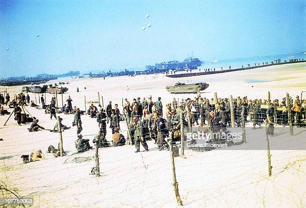 Operation Overlord Normandy German Prisoners of War have been put behind barbed wire on Omaha Beach where American invasion forces landed 6th June...