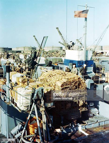 Operation Overlord Normandy Landing Ship Tank has been loaded up with various supplies in a port in Southern England in preparation for the invasion...