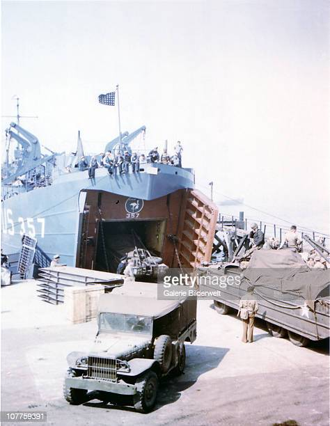 Operation Overlord Normandy Landing Ship Tank is loading vehicles including a jeep in Southern England in preparation for the invasion of Normandy at...