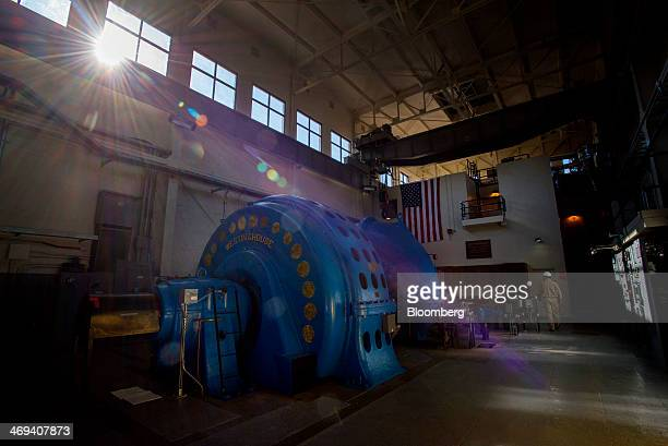 Operator Steve Pettigrew inspects a hydroelectric turbine at the Pacific Gas Electric Co Wise Powerhouse hydroelectric power plant in Auburn...