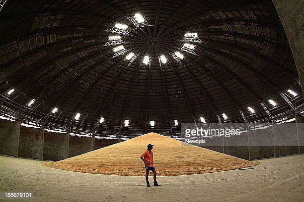 Operator Steven Kingdom stands in an all but empty GrainCorp wheat silo in Gunnedah New South Wales due to ongoing drought conditions this season