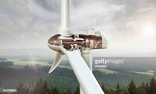 Operators inside wind turbine