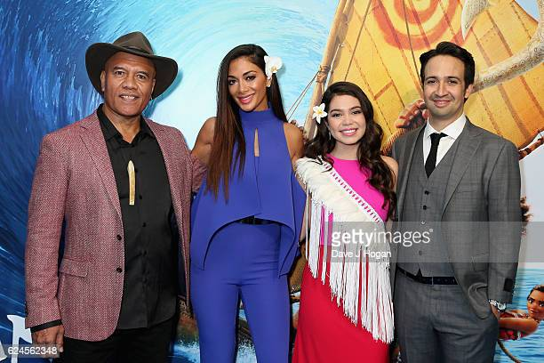 Opetaia Foa'i Nicole Scherzinger Auli'i Cravalho and LinManuel Miranda attend the UK Gala screening of 'MOANA' at BAFTA on November 20 2016 in London...