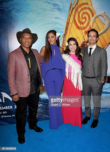 Opetaia Foa'i Nicole Scherzinger Auli'i Cravalho and LinManuel Miranda attend the UK Gala screening of Disney's 'MOANA' at BAFTA on November 20 2016...