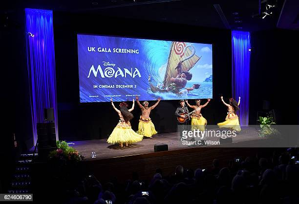 Opetaia Foa'i performs on stage at the UK Gala screening of Disney's 'MOANA' at BAFTA on November 20 2016 in London England