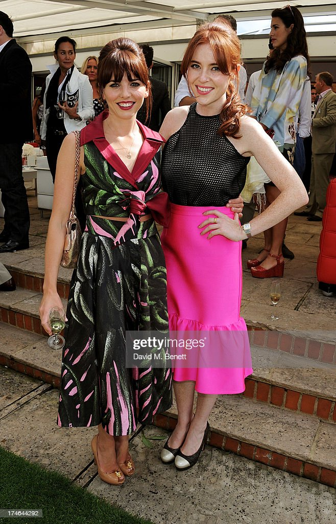 Ophelia Lovibond (L) and Angela Scanlon attend the Audi International Polo at Guards Polo Club on July 28, 2013 in Egham, England.