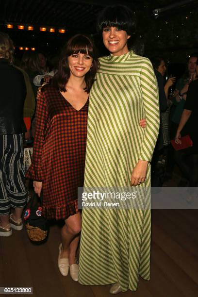 Ophelia Lovibond and Dawn O'Porter attend the launch of new book 'The Cows' by Dawn O'Porter at the Marylebone Hotel on April 6 2017 in London England