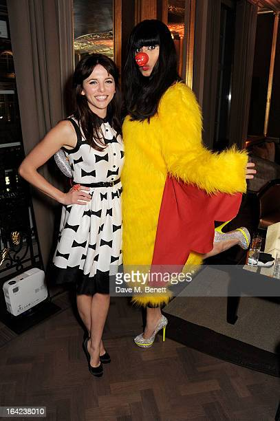 Ophelia Lovibond and Jameela Jamil attend the launch of Baileys new sleek bottle design at the Cafe Royal hotel on March 21 2013 in London England