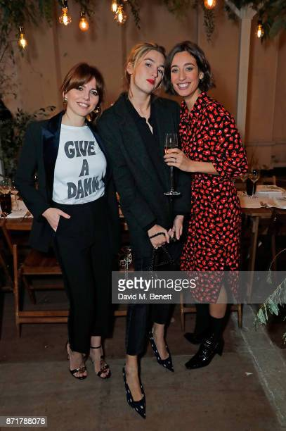 Ophelia Lovibond Camille Charriere and Laura Jackson attend the launch dinner of Label/Mix cohosted by Laura Jackson at Somerset House on November 8...