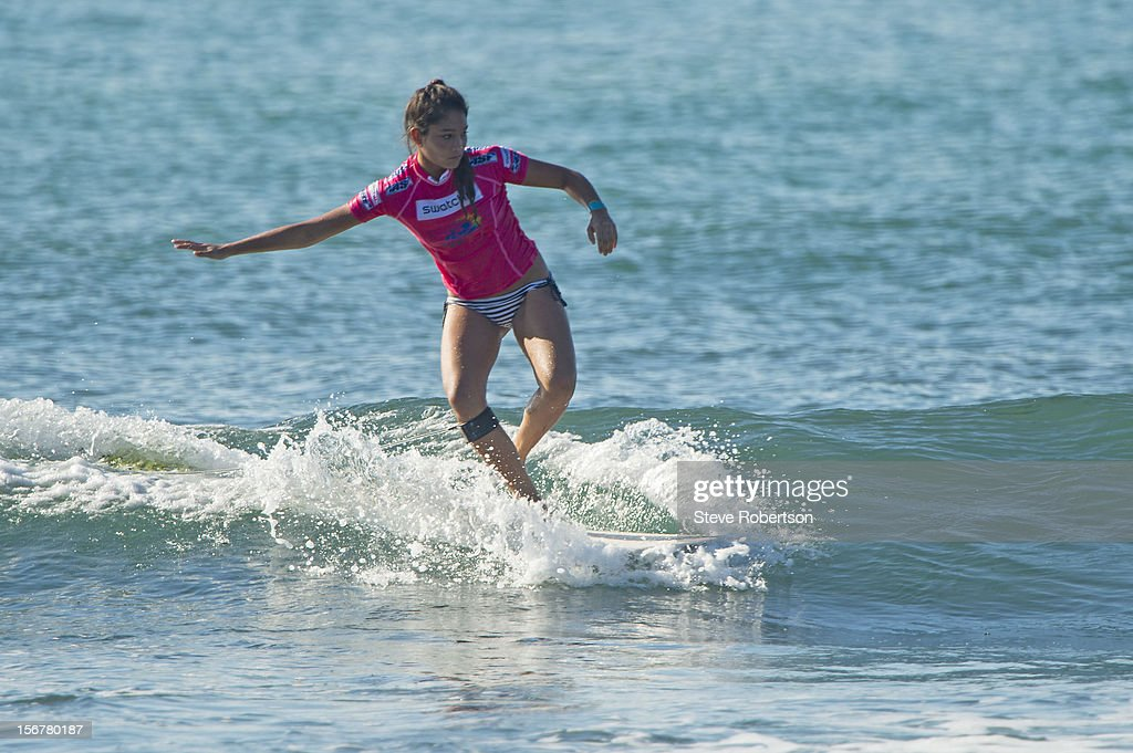 Ophelie Au- Kouen of Reunion Island winning her round one heat at the Swatch Girls Pro China on November 21, 2012 in Hainan Island, China.