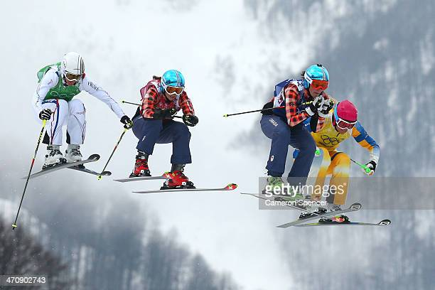 Ophelie David of France Kelsey Serwa of Canada Marielle Thompson of Canada and Anna Holmlund of Sweden compete in the Freestyle Skiing Womens' Ski...