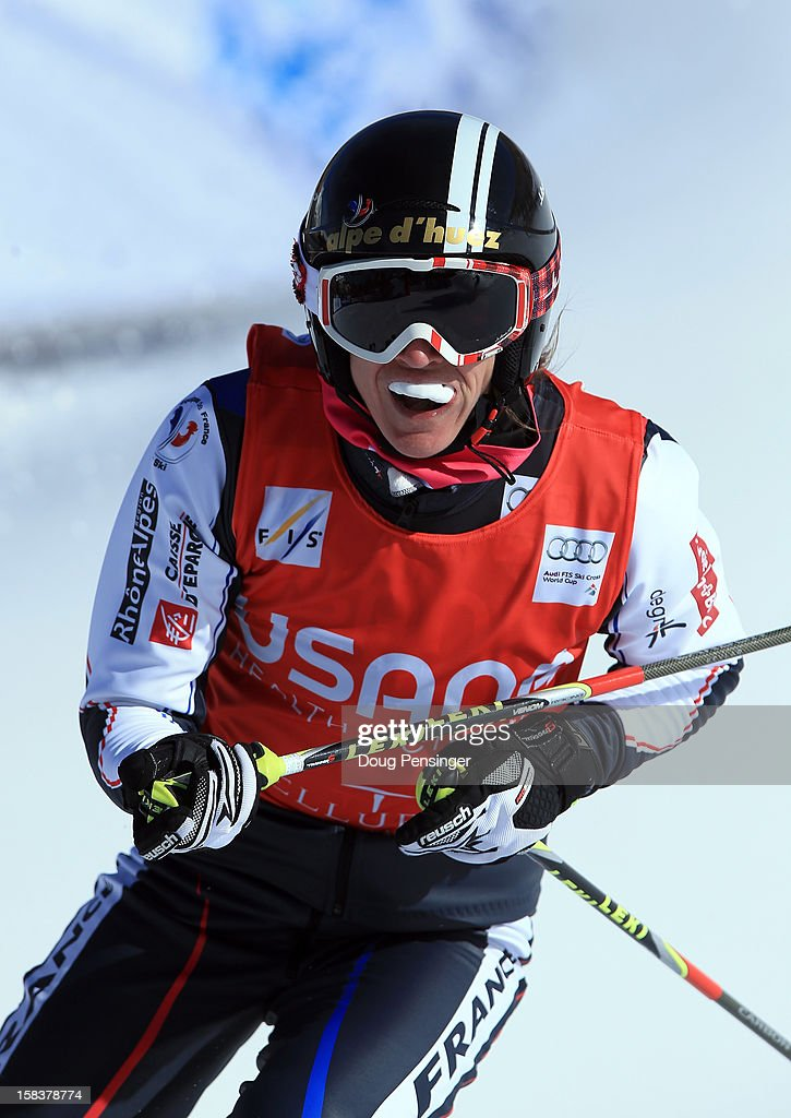 Ophelie David of France reacts at the end of her semi final heat at the Audi FIS Ski Cross World Cup on December 12, 2012 in Telluride, Colorado.