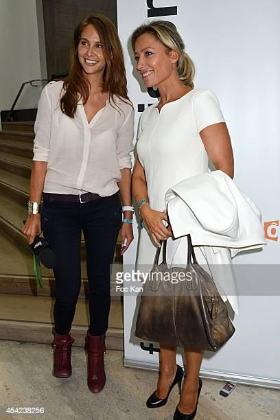 Ophelie Meunier and Anne Sophie Lapix attend the 'Rentree de France Televisions' at Palais De Tokyo on August 26 2014 in Paris France