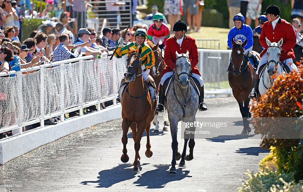 Opie Bosson aboard So Wotif wins the NZB Insurance Pearl Series Mr Tiz Trophy at Ellerslie Racecourse on March 9, 2013 in Auckland, New Zealand.